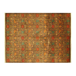 """Manhattan Rugs - Hand Knotted Wool OrientalPakistani Chobi Small Floral All-Over Rug H626 - The word """"chobi"""" itself is Farsi for """"color like wood."""" Our Chobis tend to have large geometric floral patterns and they are all hand knotted of hand spun wool. The dyes are made entirely from hand gathered fruits, vegetables, roots, tree barks and dried fruit shells, making Chobis the most labor-intensive of all of our carpets. Natural Dye Chobis are renowned for their lanolin-rich luster and stunning natural coloring. Their colors range from soft muted tans, browns to rich coppers, deep maroons, and sage greens. Our natural dyeing techniques have been refined over the years to ensure a natural dye that is steadfast and long-lasting. A special heirloom wash produces the subtle color variations that give rugs their distinctive antique look."""
