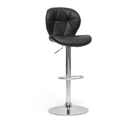 Baxton Studio - Baxton Studio Warsaw Black Modern Bar Stool - Say goodbye to your boring bar or kitchen counter: the Warsaw Modern Bar Stool livens up any space it touches. Black faux leather with triangle paneling contrasts with the curved silhouette of the seat itself. Features include a chromed steel base, gas lift piston, 360 degree swivel, and non-marking protective ring at the bottom of the base. Foam padding completes the seat with ample comfort. The Warsaw Stool is made in China and requires assembly. To clean, wipe with a damp cloth.