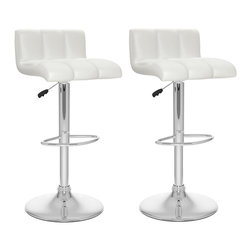 Sonax - Sonax CorLiving Low Back Bar Stool in White Leatherette (Set of 2) - Sonax - Bar Stools - B617UPD - Add spice to any bar or kitchen island with the Bar Stool featuring a comfortable foam padded seat finished with White soft tufted leatherette upholstery. Accented with a chrome gas lift and chrome base this contemporary design will compliment any kitchen setting while offering the option to adjust to a variable bar height with ease. A great addition to any home!