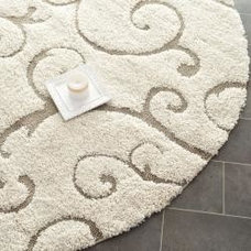 Rugs Ultimate Cream/ Beige Polypropylene Shag Rug (5' Round)
