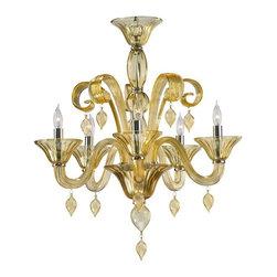 Cyan Design - Cyan Design Five Lamp Chandelier in Amber - Five Lamp Chandelier in Amber with Candle Shaped Bulbs.