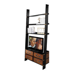 "Authentic Models - Authentic Models MF091 Gallery TV Ladder - A wall cabinet that combines many functions. It's wall-leaning design makes it less bulky and more elegant to the critical eye. Which counts in smaller spaces, but still functions well in larger ones. Storage! Shelves for collectables and books! And the main purpose. Space for a 42"" flat screen TV. Our brass bound multi-functional 'campaign' cabinet is built to last generations. The gallery ladder cabinet arrives in two easily assembled sections."