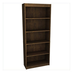 Bestar - Bestar 5-Shelf Bookcase in Chocolate - Bestar - Bookcases - 657151169 - Both Traditional and modern the Bestar Bookcase is a stunning addition to your workspace. Two shelves are adjustable and three are fixed. This bookcase boasts beautiful molding details and roomy shelves that can be personalized and used to your liking.