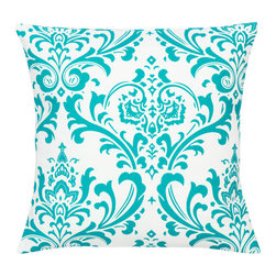Look Here Jane, LLC - Damask Teal Pillow Cover - PILLOW COVER