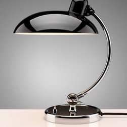 """KAISERidell - KAISERidell 6631 Luxus table lamp - The sophisticated shape of the reflector in conjunction with the optimal lamp position and the white interior finishes allow for sophisticated light control.Above the reflector is connected to the elaborately produced socket, which bears the imprint """"ORIGINAL KAISERidell.The upper ball joint that connects the reflector of the luminaire bracket, there was time only for idell original Kaiser-Series lights.It enables an extremely high degree of flexibility and variability and is thus a key distinguishing feature of absolute authenticity.  Harmonic shaped luminaire bracket accommodates optical reflector at the silhouette of the screen.It is made of pure brass and is silberverl_tet artfully crafted with the subsequent joint parts and polished by hand.Finally, he himself, as well as all joints and fittings, high quality chrome.  Product description: The 6631 Luxus table lamp was designed by Christian Dell in 1931. This Top quality design classic obtained its fame as the legendary """"Commissioner-Light"""" among other things since the 50s on the desks of almost all TV detectives in Europe.Numerous criminal cases have been resolved in the light of KAISERidell 6631 luxus.The new edition of the classic design has the additional designation """"R"""" for re-edition and is in terms of design, quality and crafted art is identical in all details with the original.It impresses with a few basic components and is characterized by its formal unity.The large, high-gloss reflector shield is made of high quality steel and is outside of that original wet painted in three colors, ivory , black or dark green , by hand.As an additional highlight of the lamp is also available in  (ruby red) available.Each of these unique lamps will be shipped with a Certificate of Authenticity and is provided by an engraved serial number on the downside of the base.The sophisticated shape of the reflector in conjunction with the optimal lamp position and the white inter"""