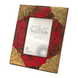 """Everybody's Ayurveda - Aged Red Frame With Gold Accents - Distressed Red Frame with Gold Accents. Made in India. Fits 5"""" x 7"""" photo. 9"""" Wide x 11"""" Tall. Hand painted with distressed red finish."""