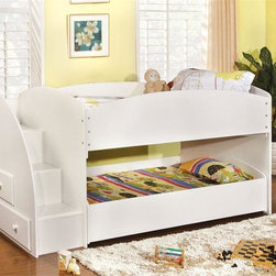 Vista White Twin Bunk Bed with Steps - Designed to save space, this twin bunk bed with steps is a perfect solution for your children's bedroom. The piece available in white or black finish and offers durability as well as a relaxed style.