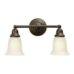 Design Classics Lighting - Fluorescent Bathroom Light with Two Bell Shades - 672ES-78 KIT W/G9110 - Traditional styling and a bronze finish make this vanity light the perfect choice for a bathroom or kitchen. Takes (2) 13-watt compact fluorescent spiral bulb(s). Bulb(s) included. UL listed. Damp location rated.