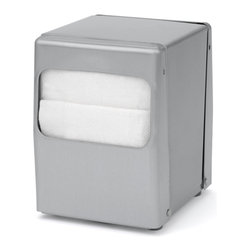 """Palmer Fixture - Table-Top Lowfold Napkin Dispenser, Brushed Steel - The Table-Top Napkin dispenser is designed for maximum durability and ease of use. The brushed steel construction allows for loading and dispensing from two sides. They dispense one napkin at a time. Holds napkins with folded size dimensions of 3 1/2"""" L x 5"""" H and 3 1/2"""" fold height. Each dispenser is finished with soft rubber feet that will not leave marks on tables. 4"""" L Dimensions: x 4 13/16"""" W x 5 1/2"""" H"""