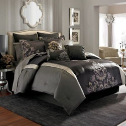 Manor Hill - Manor Hill Acapella 8-Piece Comforter Set - Decorate your bedroom in supreme luxury and opulence with the Acapella comforter set. This set offers drama with its engineered, large scale damask patterning accented by lacy embroidery in a collection of deep hues and soft neutral tones.