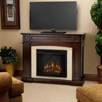 """Real Flame - Rutherford Electric Fireplace - Dark Mahogany - Shelf dimensions:13.75"""" x 5.5"""". Includes: MDF mantel, firebox, hand painted cast concrete log and screen kit.. The hidden LED display shows the settings as they are changed from either the control panel or the slim profile remote. Features a programmable thermostat to provide precise heating in Celsius or Fahrenheit, timed shut off, dynamic embers. Requires open. Programmable thermostat with display in Fahrenheit or Celsius. Ultra Bright LED technology with 5 brightness settings. Digital readout display with up to 9 hours timed shut off. Dynamic ember effect. 46.5 in. W x 16 in. D x 37.5 in. H (136 lbs.)Disguised as a standard TV supporting mantel; with it's contrasting arched center panel, detailed recesses, and prominent profile - one would almost never guess that the Rutherford is hiding storage space for a multitude of media. A magnetically secured, flip down door easily opens to reveal A/V components, while hidden doors on either side of the firebox conceal almost 100 DVDs.1400 Watts. 4780 BTU's/hr."""