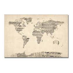 Trademark Art - Michael Tompsett Old Sheet Music World Map - Gallery Wrapped Canvas Art. Canvas wraps around the sides and is secured to the back of the wooden frame. Frameless presentation of the finished painting. 30 in. L x 47 in. W x 2 in. D (11 lbs.)