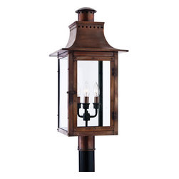 Quoizel Lighting - Quoizel CM9012AC Chalmers 3 Light Post Lights & Accessories, Aged Copper - Long Description: From the Charleston Copper Lantern Collection, this piece gives you the historic look of gas lighting, but without the hassle of a propane feed. It is all electric, solid copper and hand riveted, giving your home the romantic, reproduction style of antique gas lights still popular today on many of the charming homes in New Orleans and Charleston.