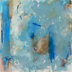 """The Blues"" Artwork - Title: ""the blues"" artist: jacquie gouveia size: 30""h x 30""w x 1.5 deep ground: canvas style: abstract, contemporary, modern, expressionism, colorist, landscape, environmental, rothko this wonderful painting has the most amazing use of blues. the feel is a smoky jazz bar - really beautiful medium: professional grade acrylics on gallery-wrapped 100% cotton canvas. staples on back. sides painted, no need to frame. huge savings! other: all of my work is signed, titled and dated on the back by me (jacquie gouveia). each one is also finished with a coat of clear varnish to protect it for years. i have sold over 100 paintings through brick-and-mortar galleries, online and in person - so you can be assured of purchasing a quality item and dealing with a professional. my paintings have sold to collectors around the world!"