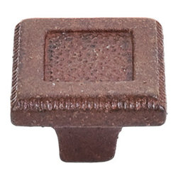 "Top Knobs - Square Inset Knob 1 5/16"" - True Rust - Width - 1 5/16"", Projection - 1"", Base Diameter - 1/2"""