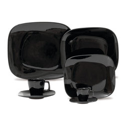 Oxford Porcelains - Karim Rashid-Shift Line-Black 20 pc Set - Don't adjust your set. This playful tabletop set incorporates an intriguing series of design elements that may instill the illusion that things are sitting a tad off-center. Yet in all actuality, each well-balanced piece is simply outstanding.