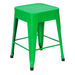 Felix | Tolix Style Table Stool - Lightly Distressed Green - This classic cafe stool originally designed by Xavier Pauchard in 1934 has been a staple in French bistros and trendy hotspots throughout the 20th century. The Felix is our spin on the classic Tolix stool. Slight abrasions and variations are characteristic of the chair's industrial aesthetic. Our gunmetal stools or stools labeled as distressed are hand finished and antiqued to create a unique industrial look. Only galvanized finish is suitable for outside use. Available in an array of colors and finishes, mix and match to create a unique setting (some colors are available through special order only). Contact Us for quantity orders.