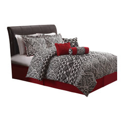 Pem America - Lace Texture Queen Comforter Set with Bonus Pillows - Elegant and edgy, this black and white based printed lace pattern has a dominant splash of red to bring the look alive. Includes 1 queen comforter (86x86), 2 standard shams (20x26), bed skirt (60x80, 15 inch drop), neckroll pillow (6x16), square pillow (16x16) and breakfast pillow (12x16). 100% microfiber face.  100% hypoallergenic polyester fiber fill. Machine washable.