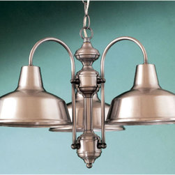 Hi-Lite - Palm Bay Three-Light Chandelier - This American-made chandelier offers its sleek appearance to enliven your d�cor.  It is crafted of steel in a satin steel finish with a powder coated clear coat for ultimate durability.  Each strong line and graceful curve exude a proud look you are sure to adore.  Please note that it includes 3? of chain.   Hi-Lite - H-15108-3D-11