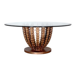 "GILANI - Olive Grove Coffee Table Base (Round) - Olive Grove Coffee Table Base. Style no: CT74750. 20""dia x 18""h. Material: Metal. Finish: As specified. Custom sizing available. Top Options: Glass 36""dia, 42""dia, 48""dia. Designed by Shah Gilani, ASFD."