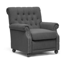 """Wholesale Interiors - Moretti Dark Gray Linen Modern Club Chair - You will never regret a lazy afternoon when sitting in our beautiful Moretti Club Chair! Chock full 'o elegance, this modern yet classic style is built sturdily with a wooden frame, dense foam cushioning, and a removable seat cushion. Of course, the upholstery and detailing shine brightest: dark charcoal gray linen, a button tufted backrest, silver tone metal nailhead armrest trim, and a scrollback. Black wooden legs with non-marking feet round out a great set of features. This fabulous modern lounge chair is made in China, requires some assembly, and is also available in light gray. Spot clean only. Dimension: 31.25"""" x 34""""D x 35.25""""H. Seat Dimension: 20""""W x 21""""D x 18.5""""H, arm height: 23.5""""H."""