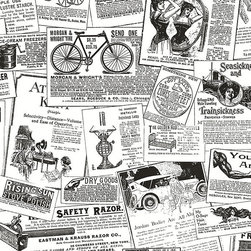 Antique Newsprint in Black and White - BK32083 - Collection:Norwall Black & White 2