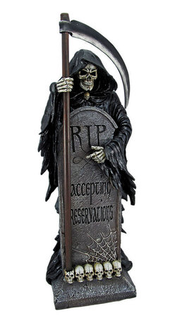 VACANCY Grim Reaper In Cemetery Statue Tombstone - Made of solid cold cast resin, this awesome Gothic statue features the Angel of Death behind a tombstone that reads `Accepting Applications`. The statue is 24 inches tall, 10 inches wide, and 8 1/2 inches deep. He`ll make a great addition to the home of any fan of the macabre, and also makes a great birthday gift.