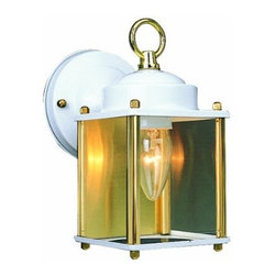 DHI-Corp - Coach Outdoor Downlight, 4.5-Inch by 8-Inch, White and Polished Brass - The Design House 502666 Coach Outdoor Downlight greets your guests at the door with a soft, inviting glow. White finish and clear glass combine to create a sleek design on a smaller scale for the cost conscious. Minimal details and a box shape give your home great curb appeal. Illuminate a front porch or back deck with this fixture's classic design and bright finish. Measuring 4.5-inches by 8-inches, this lamp matches brick, stone, wood paneling or aluminum siding. This light features a 60-watt medium base incandescent lamp and is rated for 120-volts. UL listed and UL approved for wet areas, this downlight stays bright in harsh weather conditions. The Design House 502666 Coach Outdoor Downlight comes with a 10-year limited warranty that protects against defects in materials and workmanship. Design House offers products in multiple home decor categories including lighting, ceiling fans, hardware and plumbing products. With years of hands-on experience, Design House understands every aspect of the home decor industry, and devotes itself to providing quality products across the home decor spectrum. Providing value to their customers, Design House uses industry leading merchandising solutions and innovative programs. Design House is committed to providing high quality products for your home improvement projects.