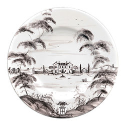 Country Estate Dinner Plate - Neutral charcoal and white forms the detailed design of the Country Estate Dinner Plate, allowing the relaxed opulence of the formal landscape artistry on this classic dishware to blend with transitional d�cor. Ideal for confident gifting and effortless mixing due to its simple palette, this dinner plate is a study in old-world decorative motifs suitable to carry your table design with panache.