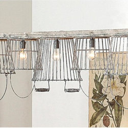 Rustic Wire Basket and Wood Chandelier -