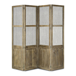 Cranbourne Folding Screen - Swedish Gray - The unusual and unutterably interesting textures of mango wood are all the adornment that the Cranbourne Folding Screen needs. Admitting light through screened upper panels, but dividing a room as you choose for permanently customizable interior appointments, the rustic yet fine room divider has four accordion-hinged panels. Use it to achieve a traditional look in a master suite or to deepen the texture of a richly-colored accent wall.