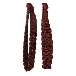 Pair of Red Rope Curtain Tiebacks - Add a touch of class to your window treatments with our Tie Backs. These stunning tiebacks are hand-handcrafted using rayon cording. These handmade Tiebacks with full tassel and thick cord with a spread will add glamour to any curtain.