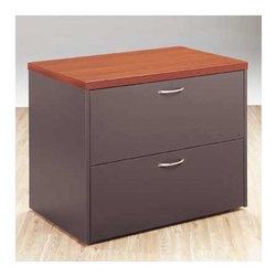 "High Point Furniture - Atlas Two-Drawer Lateral File - Atlas presents executive-level modular case goods with 1 1/2"" thick work surfaces and contemporary designs. All feature AdvantEdge, an extra-durable 3mm banding for long term durability and aesthetics. These desks promote collaboration and communication, helping executives remain ready to receive colleagues and visitors. Features: -Two file drawers, legal or letter filing .-Single-key, front-locking .-Five paper storage shelves .-PROfile filing hardware .-Anti-tilt counterweight standard .-Optional TL2P Task Light .-Overall Dimensions: 29.5"" H x 36"" W x 24"" D . Product Specifications: -Available in Graphite, Natural Maple, and Windsor Cherry wood grain thermally fused laminate .-Tops are 1-1/2"" thick with a thermally fused laminate with proper backing .-Full 3 mm PVC AdvantEdge banding as required .-Drawer fronts have a 3/4"" thick core with thermally fused laminate on both sides .-Drawer sides are 1/2"" vinyl wrap with oak grain pattern .-Drawer bottoms are 1/8"" hardboard with oak grain pattern ."