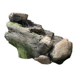 Rock And Tree Trunk Fountain w/ LED Light