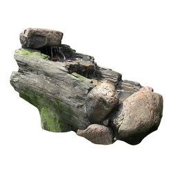 "Sunnydaze Decor - Rock And Tree Trunk Fountain w/ LED Light - Dimensions: 33"" Long x 19"" Wide x 22"" Tall, 38 lbs"