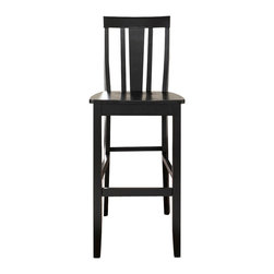 Crosley - Shield Back Bar Stool in Black Finish with 30 Inch Seat Height. (Set of Two) - Constructed of solid hardwood, this Shield back style bar stool is designed for longevity. Contoured seats and shaped back provide the ultimate in comfort. The 30 inch seat height makes this stool perfect for 42 inch height dining or pub tables. Skilled craftsmanship and attention to detail is sure to put the finishing touch on your home.