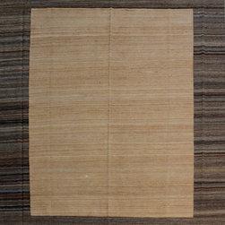 "ALRUG - Handmade Beige Oriental Kilim  7' 10"" x 10' 1"" (ft) - This Afghan Kilim design rug is hand-knotted with Wool on Wool."