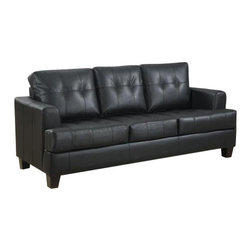 "Coaster - Sleeper (Black) By Coaster - This sofa sleeper offers an instant extra sleeping area. Features bonded leather and a 4.5"" thick mattress. Matching pieces available separately. Dims: 85"" X 38"" X 36""."