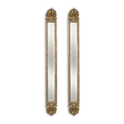 Uttermost - Set of Two Uttermost Juniper 60 High Wall Mirrors - These decorative accent mirrors feature a antique gold leaf finish with black edging and heavy sage wash. Mirrors are beveled.