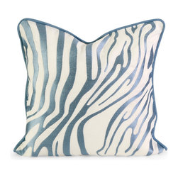 iMax - Iffat Khan Bahari Light Blue Embroidered Linen Pillow w-Down Fill - Iffat Khan has developed a luxurious collection of down pillows with embroidered zebra print and top of the line fabrics. Iffat's  refined aesthetic is evident in her collection which combines clean modern, classic casual and timeless traditional styles with her own creative twist.