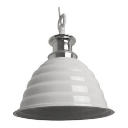 Industrial Pendant Light with Gloss White Metal Shade -