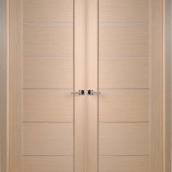 "Contemporary Bleached Oak Interior Double Door with Aluminum Strips - SKU#    Maximum-201-Bleached-oak-2Brand    BELWOODDOORSDoor Type    InteriorManufacturer Collection    Modern European Interior DoorsDoor Model    Door Material    WoodWoodgrain    Bleached OakVeneer    Natural Bleached Oak Wood VeneerPrice    920Door Size Options    2(18"") x 80"" (3'-0"" x 6'-8"")  $02(20"") x 80"" (3'-4"" x 6'-8"")  $02(24"") x 80"" (4'-0"" x 6'-8"")  $02(28"") x 80"" (4'-8"" x 6'-8"")  $02(30"") x 80"" (5'-0"" x 6'-8"")  $02(32"") x 80"" (5'-4"" x 6'-8"")  $02(36"") x 80"" (6'-0"" x 6'-8"")  $0Core Type    Swedish HoneycombDoor Style    ModernDoor Lite Style    Door Panel Style    Flush PanelHome Style Matching    Modern , ContemporaryDoor Construction    Prehanging Options    Prehung , SlabPrehung Configuration    Double DoorDoor Thickness (Inches)    1.5625Glass Thickness (Inches)    Glass Type    Glass Caming    Glass Features    Glass Style    Glass Texture    Glass Obscurity    Door Features    Door Approvals    Door Finishes    Prefinished; natural Bleached Oak wood veneerDoor Accessories    Weight (lbs)    680Crating Size    25"" (w)x 108"" (l)x 52"" (h)Lead Time    Prefinished Slab Doors: 7 daysPrefinished Prehung:14 daysWarranty    2 Year Limited Manufacturer WarrantyHere you can download warranty PDF document."