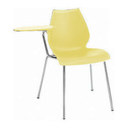 Kartell - Maui Chair with Tablet Arm, Set of 2, Matte Pale Yellow - Designed by Vico Magistretti. Meets CAL 133 fire code regulations.