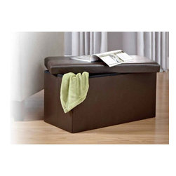 Brown Faux leather Folding Storage Ottoman Bench - Get the look of leather without spending the money. This brown faux leather storage unit can be used as an ottoman, bench, footstool or even an end table. It's also foldable, so it can be hidden in seconds for extra space.