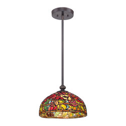 Quoizel - Quoizel TF1604SIB Tiffany 1 Light Pendants in Imperial Bronze - Bright hues and an abstract design bring the Wild Garden pendant to life in a breakfast nook or over a kitchen island. Sporting an Imperial Bronze finish, it comes with two 6-inch and two 12-inch downrods to accommodate most ceiling heights. Illuminated by one 100-watt medium-base bulb, the Tiffany-style shade is comprised of 549 pieces of art glass that are hand-assembled using the copper foil method developed by Louis Comfort Tiffany.
