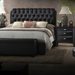 "Acme - 5-Piece Ireland Iii Collection Black Finish Wood Queen Bed Set - 5-Piece Ireland III collection black finish wood queen bed set with tufted black leather like panel headboard. This set includes the queen bed set, one nightstand, dresser, mirror and storage bench. Queen bed set with black leather like tufted headboard. Nightstand measures 26"" x 17"" x 25"" H. Dresser measures 59"" x 17"" x 41"" H. Mirror measures 39"" x 35"" H., storage bench measures 48"" x 16"" x 18"" H. Some assembly may be required. Twin, Full and Eastern king available at additional cost."