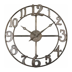 "Uttermost - Delevan 32"" Metal Wall Clock - With a clock in every room, you'll always be on time. Just like a piece of art, this handsome antique silver leaf finished clock — made of hand forged metal — can be hung on your wall for easy viewing. Being late will never be a problem again."