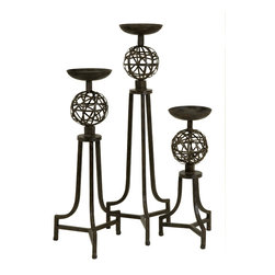 CKI Mesh Metal Sphere Candlesticks - Set of 3 - Carolyn Kinder designed Iron Candlesticks with mesh metal sphere ball design in graduated sizes
