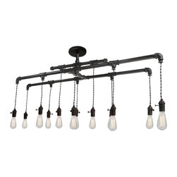 Hammers & Heels - Industrial Metal Custom Pipe and Cloth Cord Chandelier - 12 Light - VINTAGE INDUSTRIAL METAL CHANDELIER.