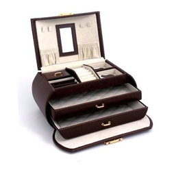 Brown Multi-level Travel Leather Jewelry Box - 9W x 5.25H in. - A blend of sleek design and upscale appeal, the Brown Multi-level Travel Leather Jewelry Box is a piece that you'll cherish for years to come. Made from quality brown leather, this three-level jewelry box oozes style, while offering versatile storage for all your accessories. In addition to a mirror, the lid has two pockets and hooks to keep your necklaces tangle-free. The top tray features a ring roll, slots for your earrings, and compartments for other small pieces. Two pull-out drawers in the front offer additional storage for all your favorite pieces. The jewelry box has a locking clasp for extra safety. About Bey-Berk InternationalThis quality item is created by Bey-Berk. For more than 20 years, Bey-Berk International has crafted and hand-selected unique gifts and accessories from around the world to meet the demands of discerning customers. With its line of elegant and distinctive products, Bey-Berk has established itself as a leader in luxury accessories.
